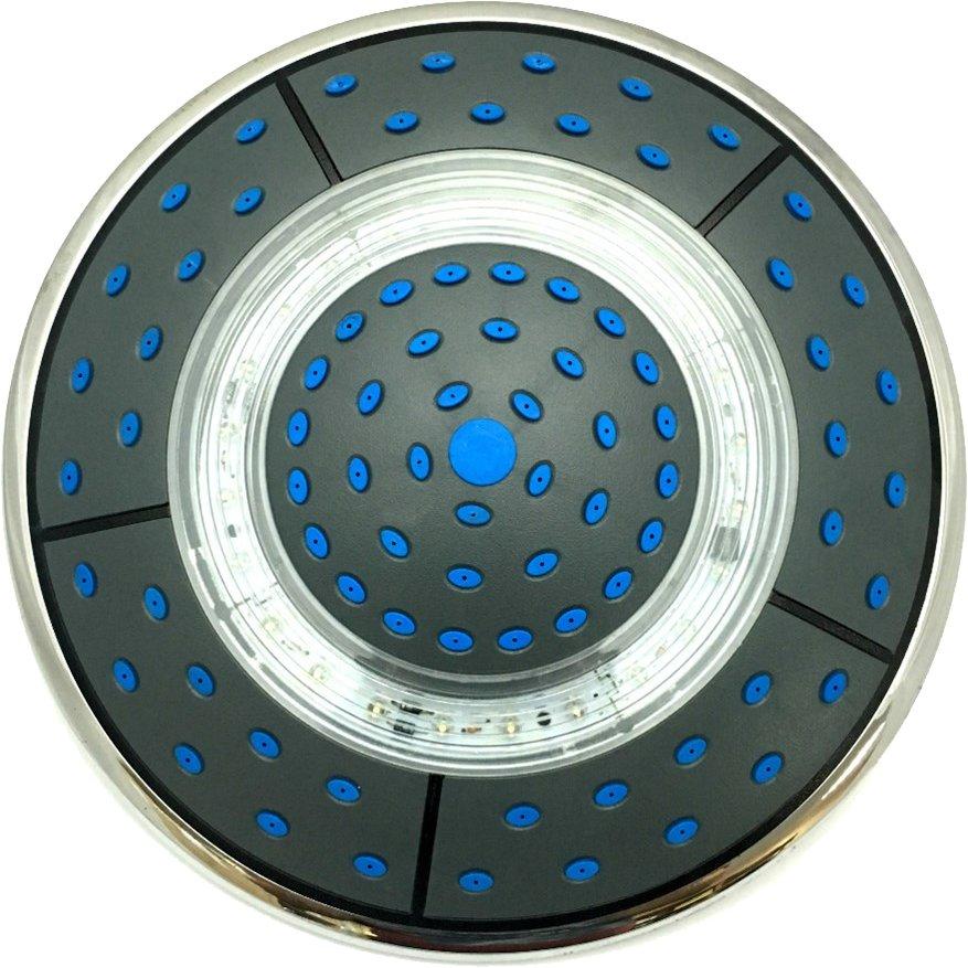 Душ тропический верхний душевой кабины круглый D240 мм с подсветкой черный пластик