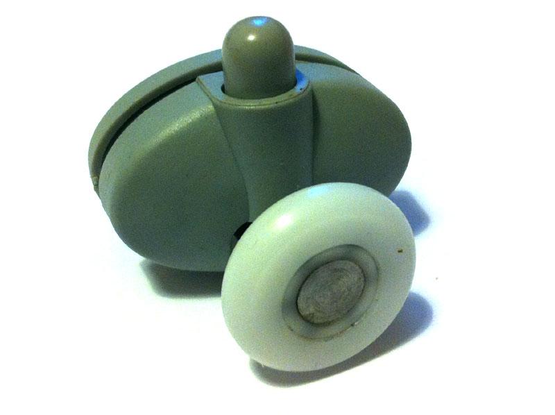 Нижний одинарный ролик душевой кабины с кнопкой под крепление через два отверстия D26 мм