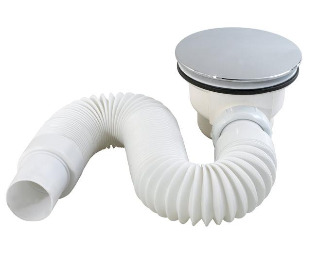 Сифон для низких поддонов душевой кабины под D60-65 мм